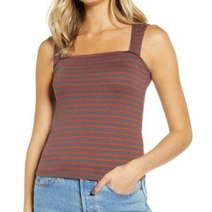 Articles of Society Stripped Red Gray Tank Top Med